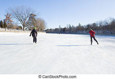 Rideau Canal - Skaters on ice of Rideau Canal, Ottawa.