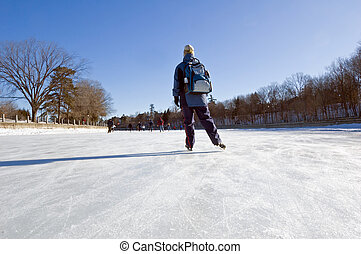 Rideau Canal - Skaters on ice of Rideau Canal, Ottawa