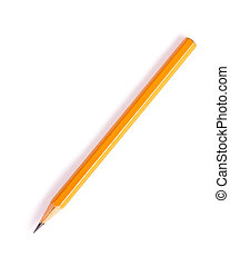 Graphite pencil of yellow color isolated on a white...