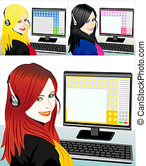 young beautiful girl telephone operator three color