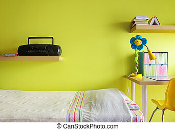 Teen Bedroom - Detail of a teenager bedroom with desk, bed,...
