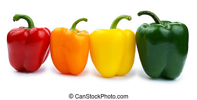 Colored paprika isolated on a white
