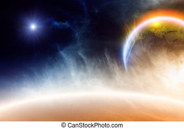 Abstract planet in space - Abstract background - glowing...