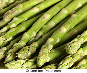 Asparagus spears group - Close-up view of a group of...