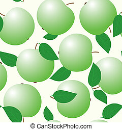 Abstract backgrounds with green apples and leaf. Seamless...