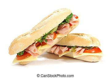 Sub sandwiches - Large sub sandwich isolated on white