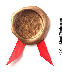 Gold wax seal with ribbon