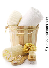 SPA accessories - Wooden bucket with SPA accessories...