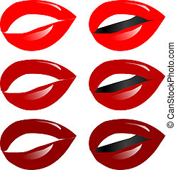 female lips and white teeth