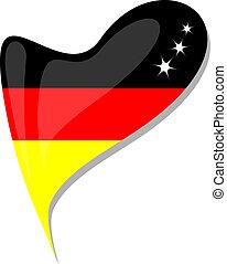 botão, Coração, FORMA, Alemanha, bandeira