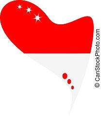 monaco in heart. Icon monaco flag