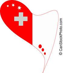 malta in heart. Icon malta flag