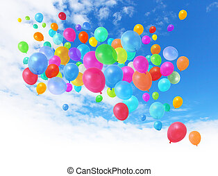 Colorful balloons on blue sky - Colorful birthday party...