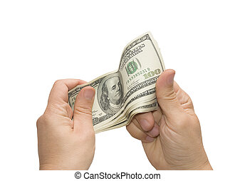 Hands that hold the dollars - Mens hand holding US dollars,...