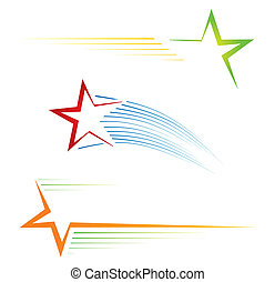 Star icons - Set of three colorful pictograms with stars