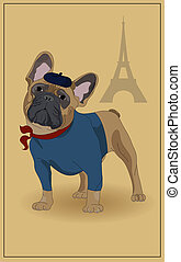 French Bulldog, and symbols of France. Vector illustration.