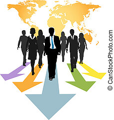 Global business people forward progress arrows