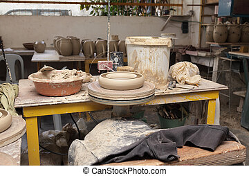 Potters work place - Work spot or place of a single potter...
