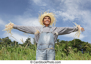 Human laughing scarecrow - Laughing cheering human Asian...
