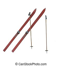 Old-Fashioned Skis - Old-Fashioned Red Skis with Ski Poles...