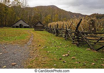 Garden, Barn, Oconaluftee Pioneer Homestead, Smokies -...