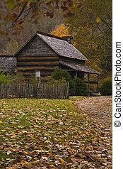 Log Cabin, Oconaluftee Pioneer Homestead, Smokies - Log...