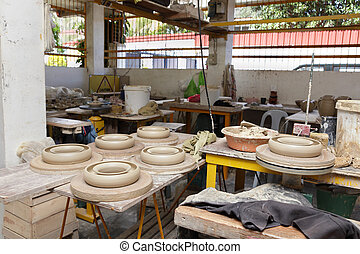 Asian pottery production floor - Overview the production...