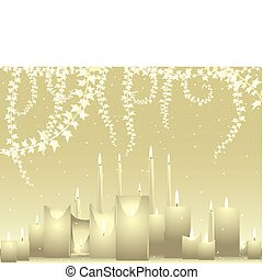 Ivory wedding background - Ivory colored candles and ivy...