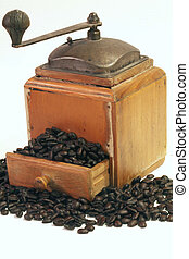 Antique Coffee Grinder with coffee beans