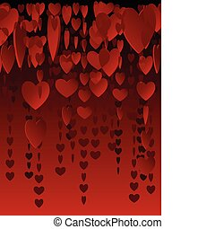 Hanging hearts - Background pattern of hanging, red...