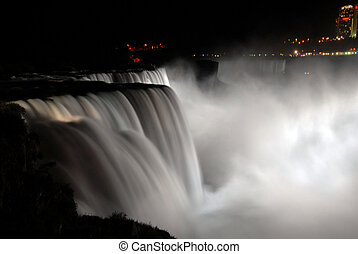 Niagara Falls at night - scenic night view of Niagara Falls...