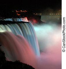 Niagara Falls at night - scenic night view of Niagara Falls...