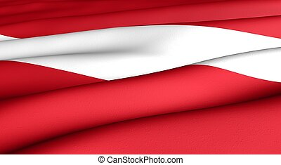 Flag of Latvia. Close up. Front view.