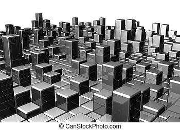 Abstract dynamic metal block background 3d illustration