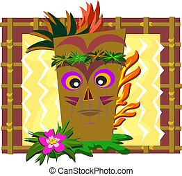 Framed Tiki with Bamboo Frame