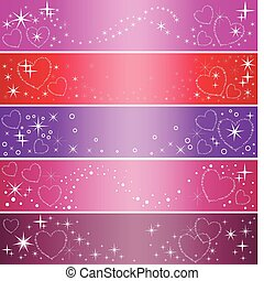 five banner with hearts - set of five colorful banner with...