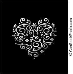 Filigree Heart - Silver filigree floral heart isolated on...
