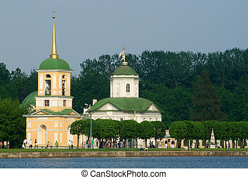 Kuskovo estate church - An Orthodox chirch and bell tower in...