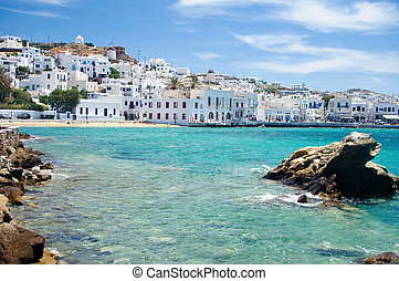 Bay of Mykonos, the famous Isle of Greece