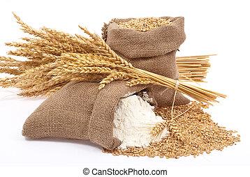 farinha, trigo, grão