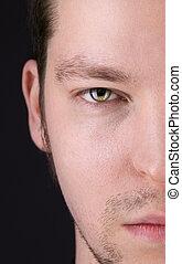 half face man portrait