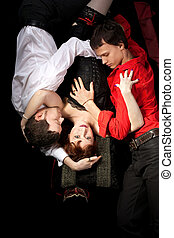 red woman in mask and two men - love triangle - red woman in...