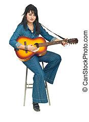 Guitarra, acústico, mulher, tocando