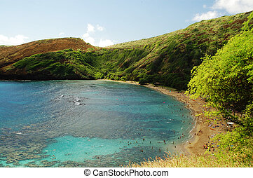 Hanauma Bay Reef beach Honolulu Hawaii - Aerial view of...