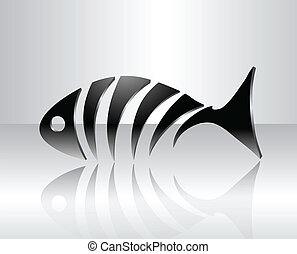 decorativo, peixe, esqueleto