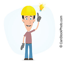 Builder visited idea - Illustration of a cartoon cute...