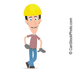 Builder stands next to a blank place