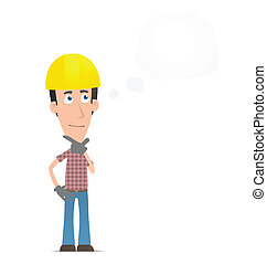 Pensive builder - Illustration of a cartoon cute character...