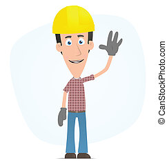 Builder welcomes - Illustration of a cartoon cute character...