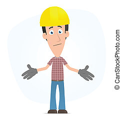 Embarrassed builder - Illustration of a cartoon cute...